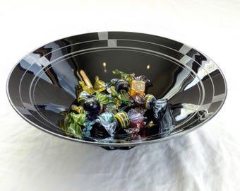 Fostoria Bowl, Art Deco Black Ebony