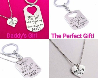 Daddy Daughter Necklace & Keychain Gift