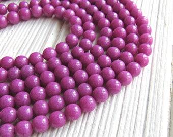 6mm dark pink jade, full strand, Malay jade beads, 6mm Mashan jade beads, purple gemstone, jade beads, mashan jade, candy jade, opaque jade