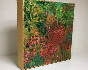 Abstract painting on 8hx8w x 1.5 wrapped canvas.