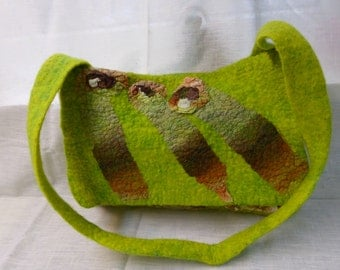 Lime green shoulder bag, handgevilt, nuno felt, Merino Wool with silk, lime green with Brown and cream, unique bag,