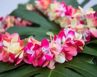 Deluxe SILK FLOWER LEI - Pink & Peach Plumerias