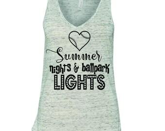 Summer nights and ballpark lights, softball shirt, softball mom shirt, baseball shirt, baseball mom shirt, I can't my kid has practice