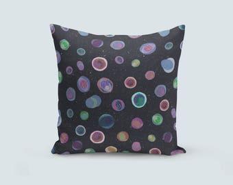 Planet Throw Pillow, Spot Throw Pillow, Space Cushion, Dark Grey Cushion, Velvet Throw Pillow, Unique Accent Pillow, Star Throw Pillow