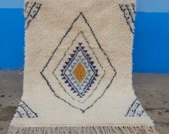 Moroccan Rug Beni Ourain handmade 100% wool rug 7,8 / 5,3 feet