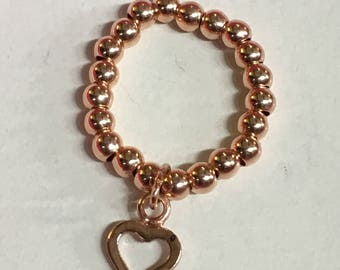 Rose gold vermeil  stretch ball ring with heart dangle charm