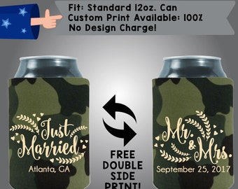 Just Married City, State Mr & Mrs Date Collapsible Neoprene Can Cooler Double Side Print (W11)