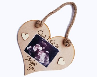 Hanging photo hearts, photo transferred to wood, pyrography message burned on wooden love heart, mother's day gift, new parent, baby scan