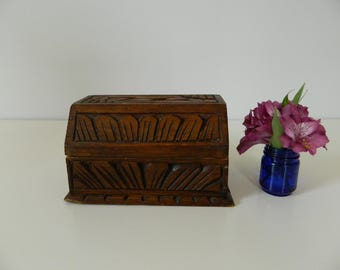 Carved Wood Box Container with Leaf Design