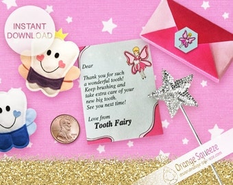 INSTANT DOWNLOAD - Editable Tooth Fairy letter with envelope - Personalize tooth fairy letter and envelope - Tiny Tooth Fairy Letter