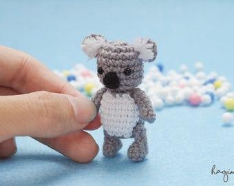 Miniature crochet Koala, Tiny Koala, little bear, Amigurumi tiny Animals, Dolls House Toys
