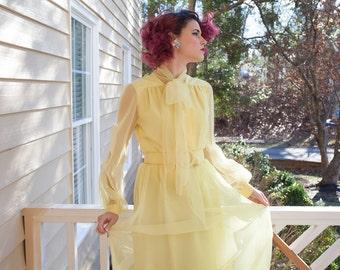 "1960's Designer "" Felix Arbeo for Aventura div. of Carrie Couture "" Sunshine / Lemon Yellow Vintage Maxi Gown"