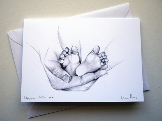 Handmade New Baby Card Pencil Drawing New Baby Baby