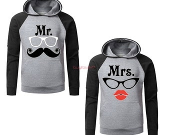 Couple Crewneck Sweatshirt Couple Sweater Mr.Tash & Mrs Lips Couple Matching Crewneck Sweatshirt Mr Mrs Sweater Gift For Couple
