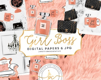 Girl Boss Digital Paper Set, Digital Papers, Graphics Planner Stickers Resources, Blog Clipart Design, Fashion Clipart, Chanel Clipart