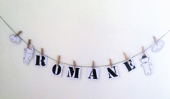 """""""l perfect for decorating a room - Brandon and Michou name illustration - garland."""" Garland """"handmade 1.5 euros the letter"""""""