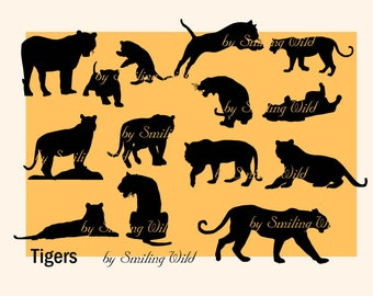 tiger svg clipart silhouette cutout forest animal clip art print little tiger family puppy printable instant download wild animals vector