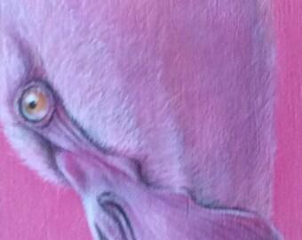 """Flamingo 2"" original acrylic wood animal pink Flamingo"