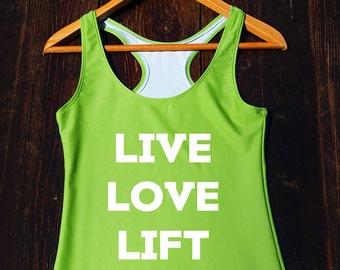 Live Love Lift Tank Top - cute gym shirt, womens fitness top, cute gymwear, flowy crossfit top, womens workout tank, gym quote shirt