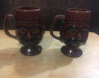 Vintage Mustache Mugs with Fez Hat / Brown Ceramic Mugs / Man Mugs