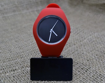 Customised red silicone watches