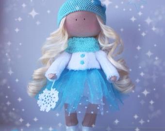 Handmade doll Christmas doll Tilda doll Fabric doll Pink doll Cloth doll Interior doll Nursery doll Soft doll Baby doll by Elena Merentseva