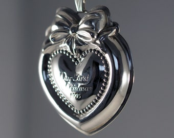 "Reed and Barton Sterling Silver Christmas Tree Ornament Love Heart 1995 Vintage Collectible ""Our First Christmas"""