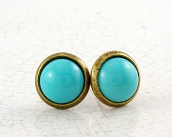 Small bronze studs with glass block in turquoise