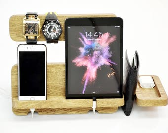 Charging Station Personalized wooden iPad Docking Station Desk organizer Stands & Docking iPhone 5,6,7 dock Gear for iPad, Anniversary Gift