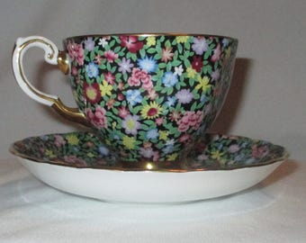 Mille Fleurs Vintage Tuscan Floral Chintz Tea Cup and Saucer