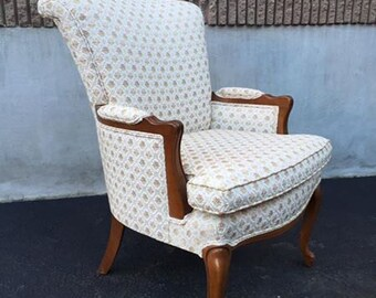 Vintage French Provincial Rolled Back ArmChair