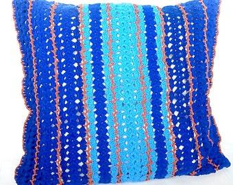 "Cover the pillow ""Delicate blue"" Pilloyws Knit pillow cover Knitted pillows Home Decor Чехол на подушку ""Ажурная синева"""