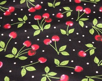 Quilting Fabric | Cherries on a Black Background | Yardage | 100% Cotton Fabric | Quilting Fabric