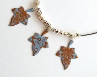 Blue and Brown necklace with Swarovski rhinestones