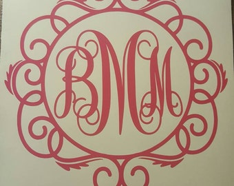monogram decal with fancy border