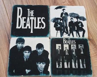 Beatles Tumbled Stone Coaster Set