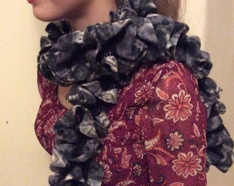 Fleece hand knitted scarf