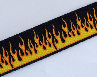 "Yellow flames on black webbing 1 1/4""/32mm x 5 meters"