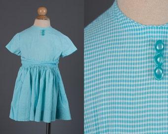 Vintage 1950s baby girl's aqua blue dress | gingham print