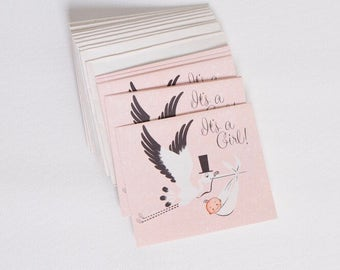 vintage 1950s birth announcement stork cards | baby girl