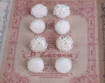 Lace fabric stud earrings - small