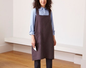 Linen Japanese Square Cross Back Apron in  many colours. Free shipping mainland UK.