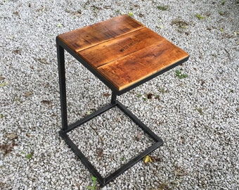 "Steel ""C"" table with reclaimed wood top"