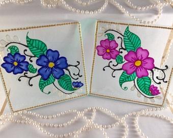 Hand painted/ Glass coasters/ Pink/ Blue/ Flowers/ Coaster/ Gift
