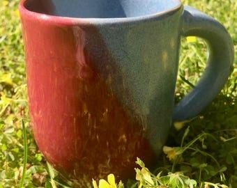 Silhouette | Unique Handmade Coffee Mug | Tea Cup | Red and Blue Mug | Ceramic | Pottery
