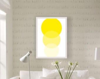 Yellow circles, geometry art print, modern art