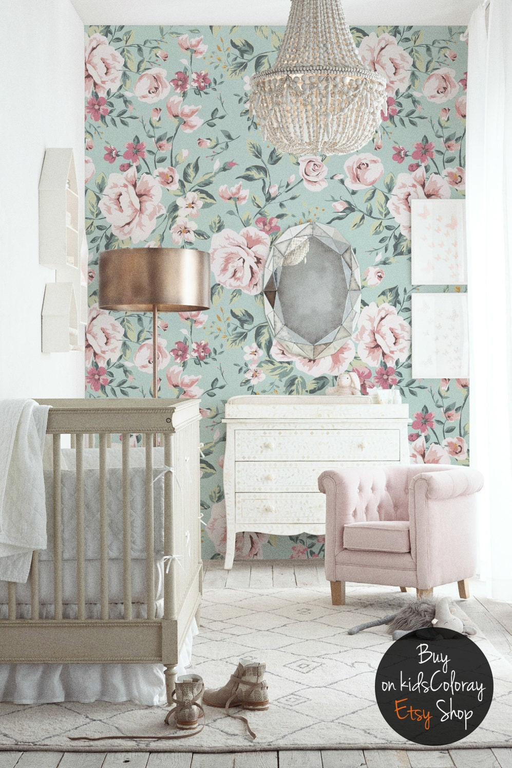 Nursery floral wallpaper vintage wall mural pastel roses zoom amipublicfo Gallery
