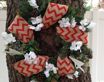 "18"" Red and White Chevron Burlap Hydrangea Garden Wreath"
