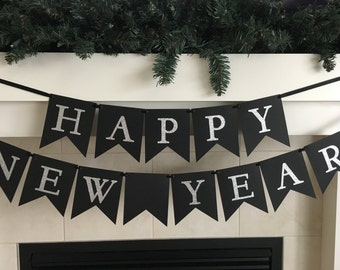 New Years Banner, Happy New Year, New Years Party, Celebrate the new year, Black and Silver Banner