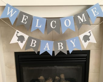 Welcome Baby Banner, Baby Shower Banner, Baby Sprinkle, Baby Shower Decoration, Boy Baby Shower, Blue and Grey, Photo Prop, Nursery